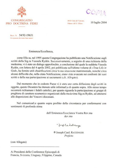 Official Letter from Cardinal Ratzinger