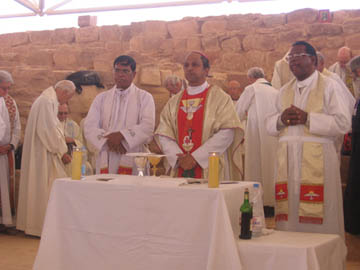 Holy Mass at the Byzantine Church in Petra, Jordan